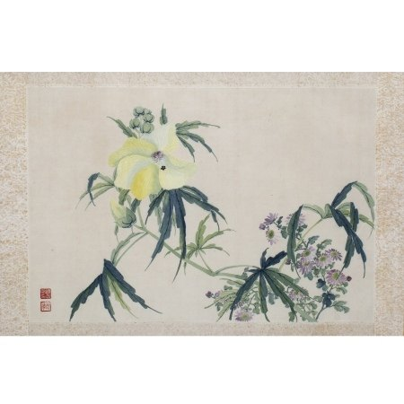 Katherine Talati (1922-2015) Da Shunming (Chinese name) flowers, mounted scroll, ink on paper with