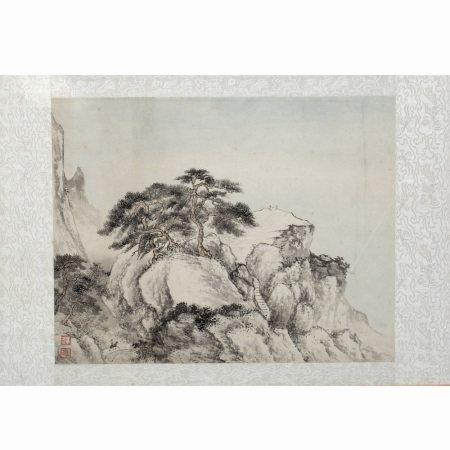 Katherine Talati (1922-2015) Da Shunming (Chinese name) figures on a rocky outcrop, mounted