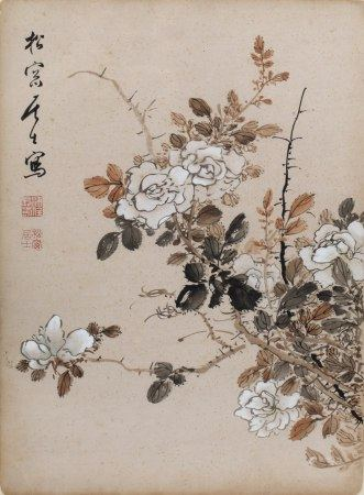Pu Quan (1913-1991) orchids, ink on paper, mounted scroll with artists seal marks 41.5cm x 31cm