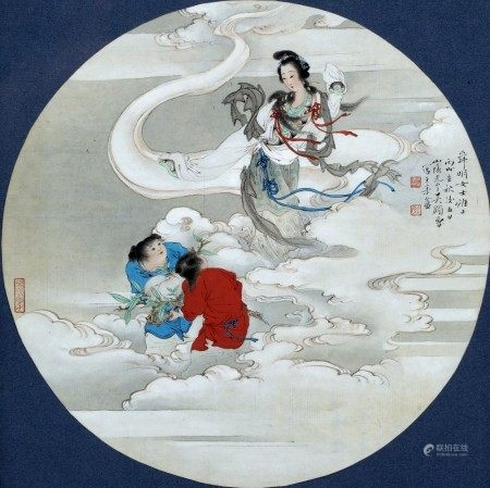 Chinese School Guanyin, framed circular scroll, ink on paper with artists seal marks 30cm x 30.5cm