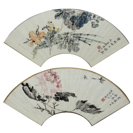 Pair of fan studies Chinese, 20th Century signed Sun Chen Ke, ink on paper, depicting flowers,