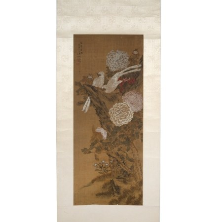 Lu Zhi (1496-1576) also known as Bao Shanzi Chinese scroll painting of chrysanthemums and birds