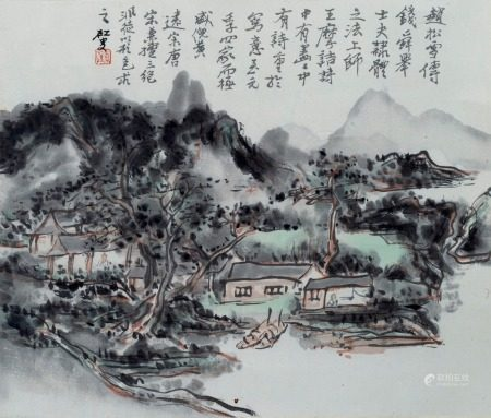 After Huang Binhong (1864 -1955) published by Duo Yun Xuan, river landscape, hanging scroll, ink and