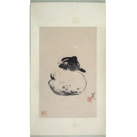 After Zhu Da (1626-1705) bird sitting on a melon, hanging scroll, ink on paper 29cm x 39cm
