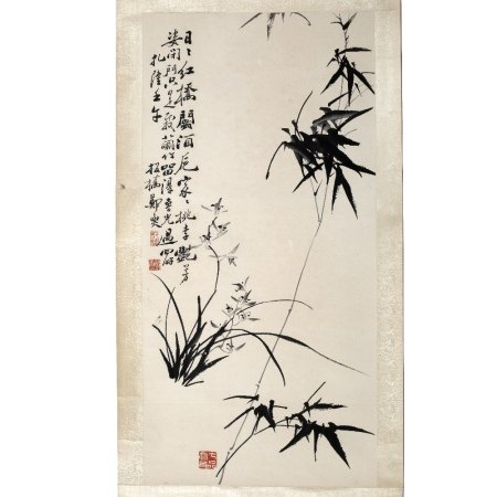 After Zheng Banqiao (1693 - 1765) bamboo, hanging scroll, ink on paper, inscribed, written in Zha
