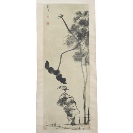 After Zhu Da (1626-1705) lotus flower, hanging scroll, ink on paper 125cm x 45cm Provenance -