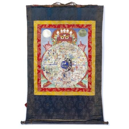 Thangka Tibetan, 19th/early 20th Century in the form of a mandala with traditional silk panelled
