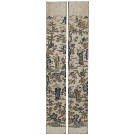 Pair of embroidered panels Chinese, late 19th Century with musicians and other figures in a garden