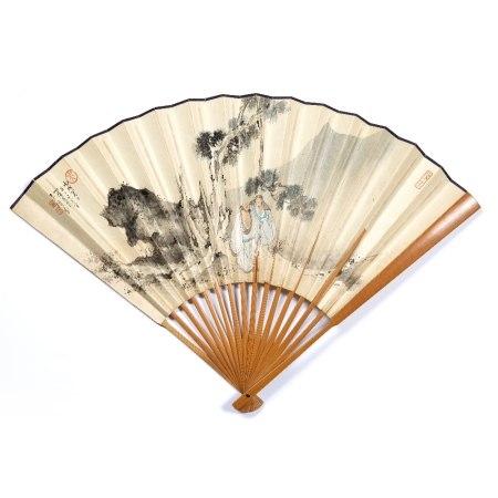 Wu Xianzeng 1908-1970 scholars under a tree, hand fan, ink on paper, seal in white Wu Xianzeng, seal