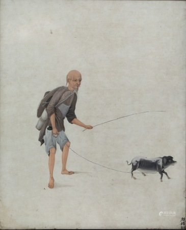 Chinese School 19th Century watercolour study of farmer leading a pig on a lead, inscribed 35.5cm
