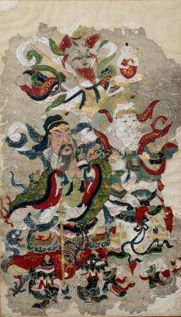 Tibetan School Daoist study of immortals, gouache on paper 64cm x 37cm overall