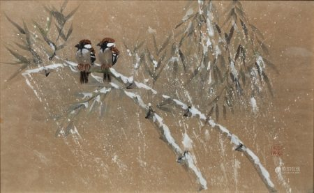 Chinese School study of two tree sparrows on a branch in winter, watercolour with heightening,
