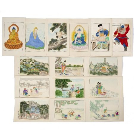 Fifteen painted cards Chinese, 20th Century most depicting daily life, with children at play and
