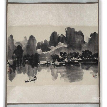 Hu Peiheng (1892 - 1962) Spring Rain, hanging scroll, ink on paper 49cm x 75cm
