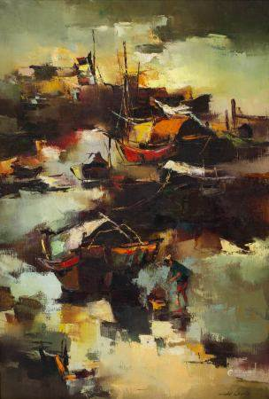 H Leung (Chinese) fishing boats, oil on canvas 89cm x 58cm and a watercolour study of a junk