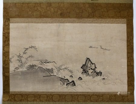 Chinese School Landscape scene, hanging scroll, ink on paper, seal in red reading Shouxin,