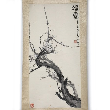 Sun Hsieh Ni Plum blossom, hanging scroll, ink on paper 67cm x 35cm