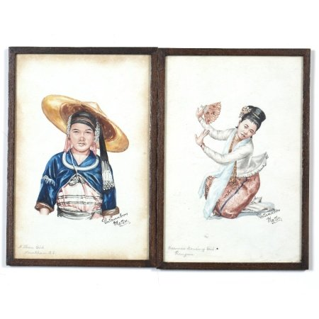 Pair of watercolour studies Burmese to include a Shan girl and a Burmese dancing girl, signed '
