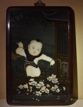 Glass Mirror Painting of Chinese Boy