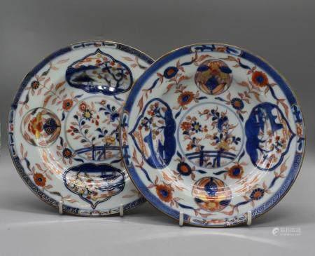 Pair of Chinese Imari dishes of window views from pagoda
