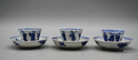 Chinese Blue and white Minature set of 3 cup and saucer