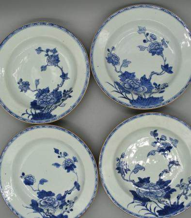 Chinese 18th century set of four soup plates with Peony Desi