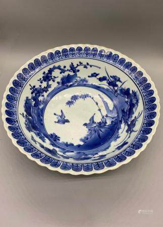 Blue and white Kakiemon bowl of Sparrow flying among Bamboo