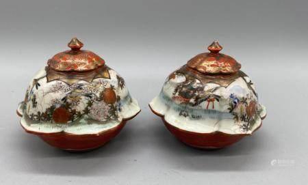 Pair of Japanese Kutani Hexangonal flower shaped jarlet and