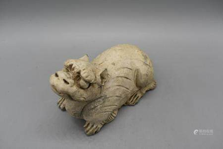 Yuan Dynasty Seated Tiger unglazed Earthernware grey pottery