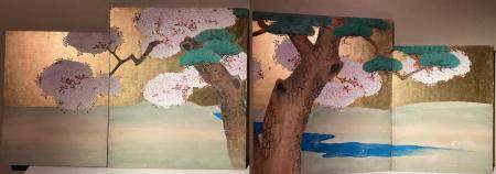 4 panel Joining panel paintings of Pine tree with cherry blo