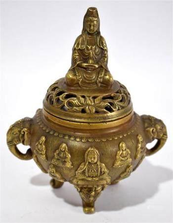 A Chinese-Tibetan Lamaist Bronze Alloy Censer with Pierced C