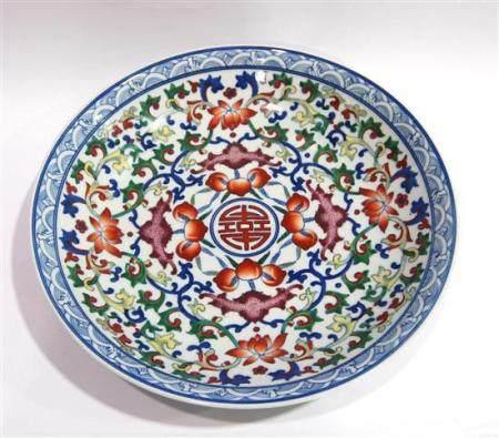 A Large Wucai Enamel Dish, with Bat, Peach & Lotus Pattern w