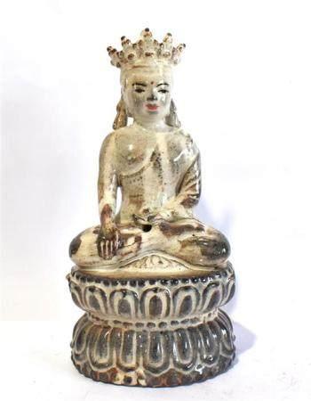 A Glazed Earthenware Figure of Tara Wearing a Crown & Seated