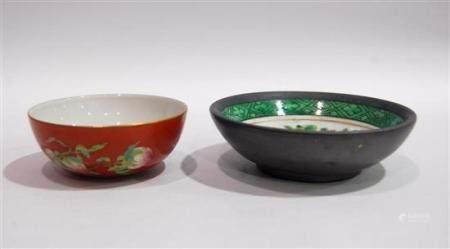 Two Overglaze Enamel Chinese Porcelain Bowls a Studio Mark t