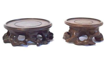 Two Chinese Circular Wood Display Stands,
