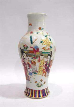 A Baluster Shaped Vase, Painted with Figures in Overglaze En