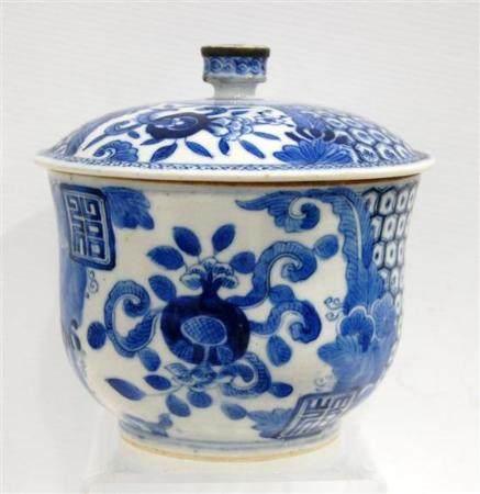 A Deep Lidded Porcelain Bowl, in Underglaze Blue, with Metal