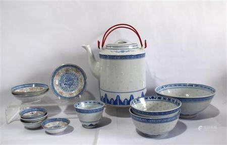 A Group of Chinese Porcelain, a Teapot, Bowls & Dishes in Ri