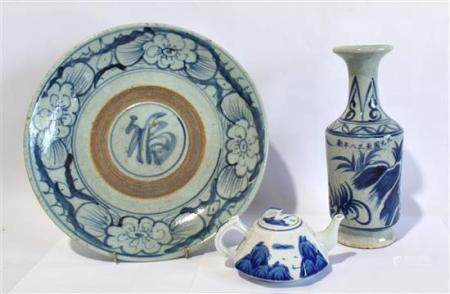 A Large Chinese Provincial Blue & White Dish & a Vase with Z