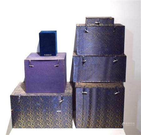 Seven Chinese Porcelain Storage Boxes, Blue with Yellow Inte