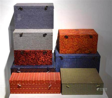 Eight Chinese Porcelain Storage Boxes, Multi Coloured