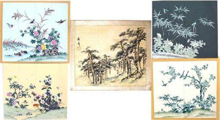 Five Chinese Ink & Colour on Silk & Paper, Pine Forest, Sign