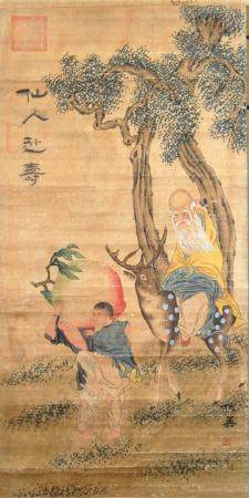A Chinese Hanging Scroll with the God of Longevity, a Deer &
