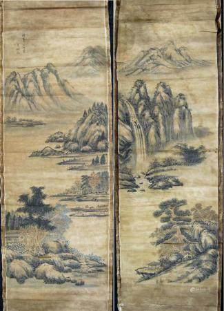 Two Chinese Painting with Landscape, Attributed to Yang Boru