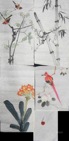 Seven Chinese Unmounted Paintings, Ink & Watercolour on Pape