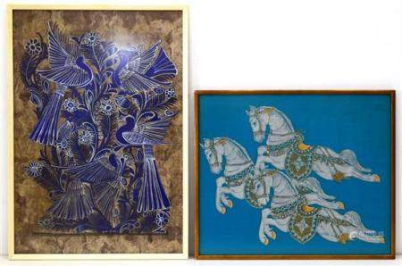 A Thai Painting on Fabric in Silver & Gold of Galloping Hors