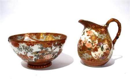 A Finely Painted Kutani Jug & Bowl, Meiji Period, Signature
