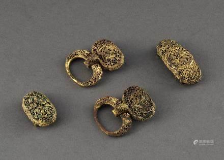 銅鎏金鏤空龍紋帶飾四件