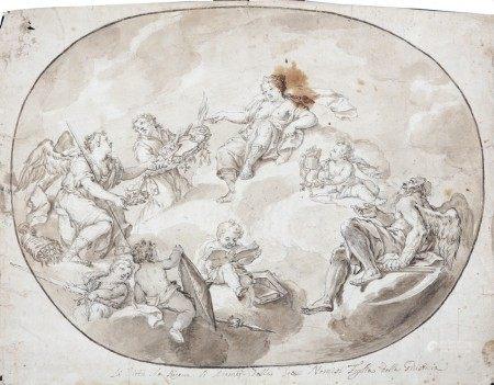 ECOLE ITALIENNE du XVIIIème Siècle  - Allégorie de la vertu PIERRE NOIRE, PLUME ET [...]