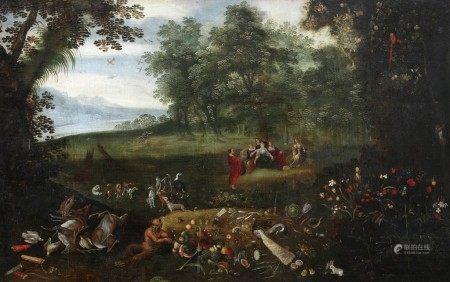 Suiveur de Jean BRUEGHEL XVIIème Siècle  - Diane découvrant la promesse de Calisto [...]